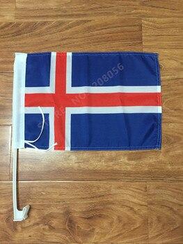 30x45 cm Bandera de coche de Islandia banner estandarte para la ventana bandera envío gratis