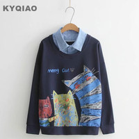 KYQIAO Women pullover Lolita shirt 2019 mori girls autumn winter Japanese style cute kawaii blue beige white cat t shirt tee