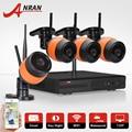 Plug & play sem fio 4ch nvr anran cctv sistema de câmera de 720 p hd wi-fi ao ar livre câmera de vigilância de vídeo de segurança ip kit