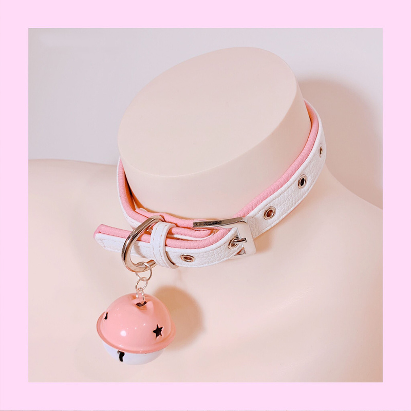 Cute SM Metal PU Leather Collar Lead Chain Bell Choker Slave Costume ,BDSM Bondage Necklace Neckband Sex Toys