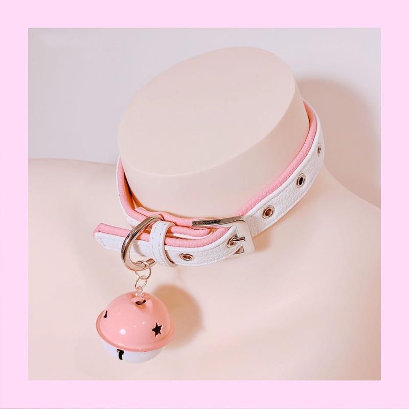 Cute SM Metal PU Leather Collar Lead Chain Bell Choker Slave Costume ,BDSM Bondage Necklace Neckband Sex Toys