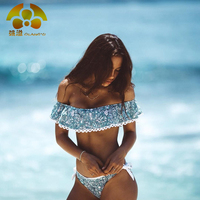 2016 Summer Styles Triangle Strapless Lace Crop Top Halter Sexy Bikini Set Women Plus Size Beach