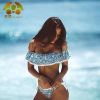 QIANG YI 2017 Zomer Sexy Bikini Strapless Badpak Vrouwen Badmode badpak Off Schouder Kant Crop Top Vrouwelijke Bandeau
