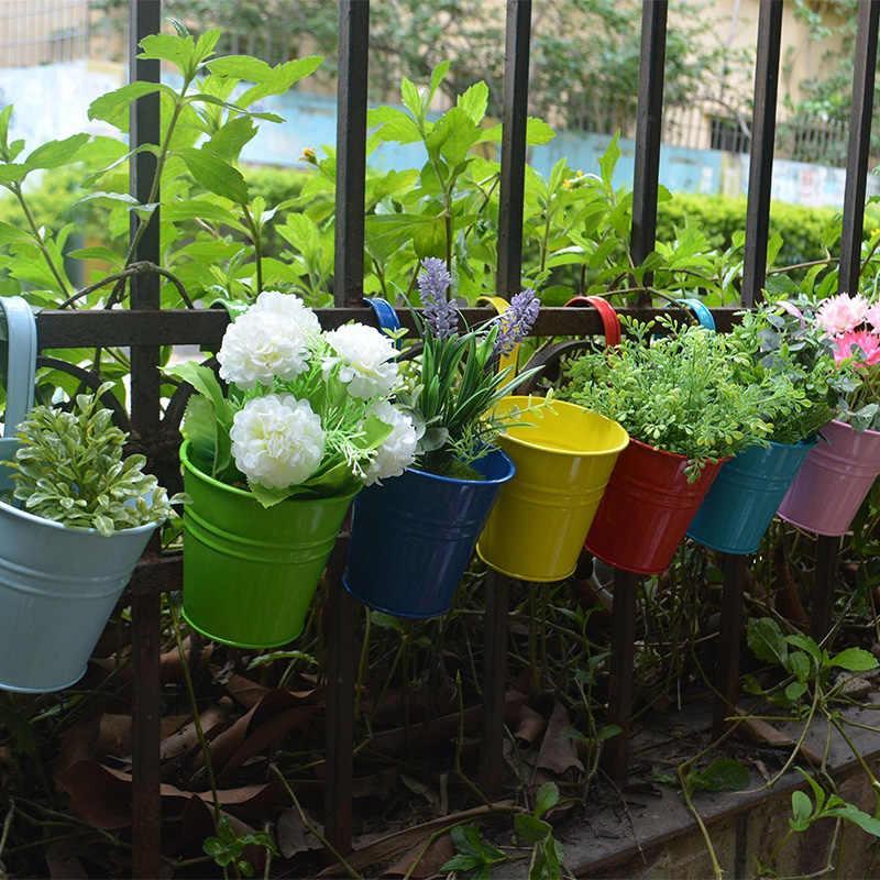 10 peças Jardim Plantador de Suspensão Decorações Varanda Plantadores Potes de Mudas De Flores Bonsai Balde Titulares Cesta Gancho Da Planta Pot