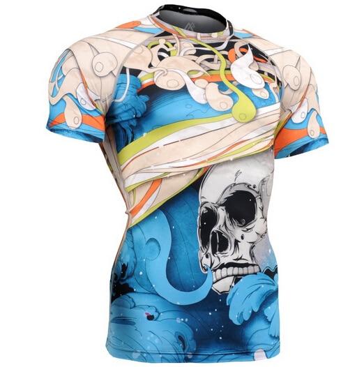 Летние мужские компрессионные футболки для бодибилдинга, облегающие короткие трикотажные футболки, одежда MMA Crossfit для тренажерного зала, с... - 2