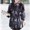 Fox Fur Coat 2017 Long Luxury Natural fur coats Thick Natural Fox Coats Short Sleeve Genuine Fur Winter Jacket Women Plus Size
