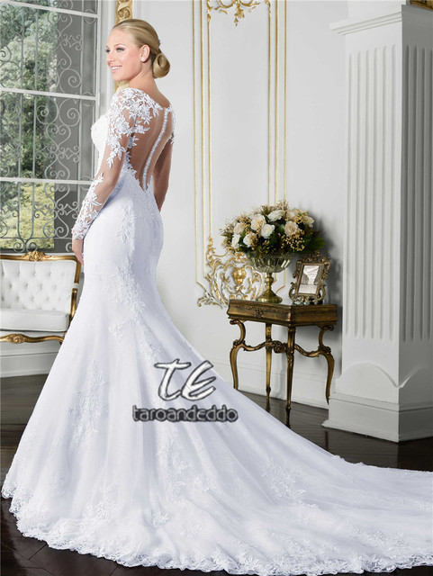 Sheer O-neck Long Sleeve Mermaid Wedding Dress 2019 See Through Illusion Back White Bridal Gowns with Lace Appliques 3