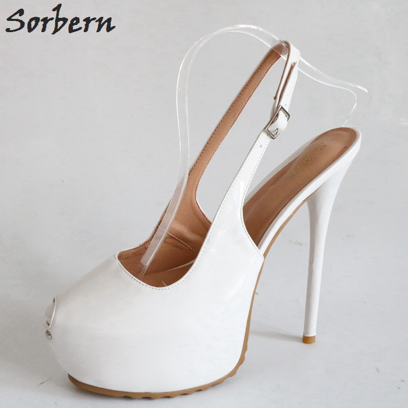Sorbern White Peep Toe Slingbacks Pump Shoes Women Platform High Heels Runway Shoes For Women Size 11 Party Shoes For Women lasyarrow brand shoes women pumps 16cm high heels peep toe platform shoes large size 30 48 ladies gladiator party shoes rm317