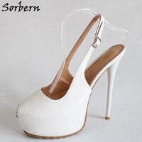 Sorbern White Peep Toe Slingbacks Pump Shoes Women Platform High Heels Runway Shoes For Women Size 11 Party Shoes For Women