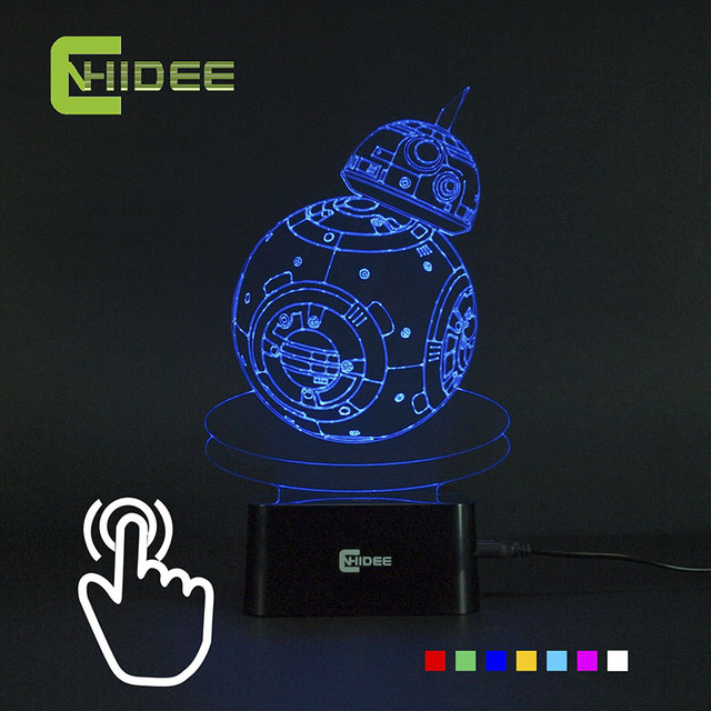 Cnhidee usb novelty siete colores cambiantes bb8 star wars 3d además de lampara led night lights lámparas de mesa como decoración para el hogar