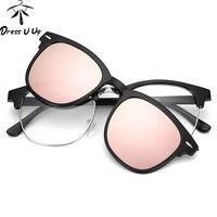 DRESSUUP Moda TR90 Montature Per Occhiali Polarizzati Occhiali Da Sole A Duplice Uso Tac Miopia Clip di Colore Alla Moda Occhiali Da Sole Oculos De Sol