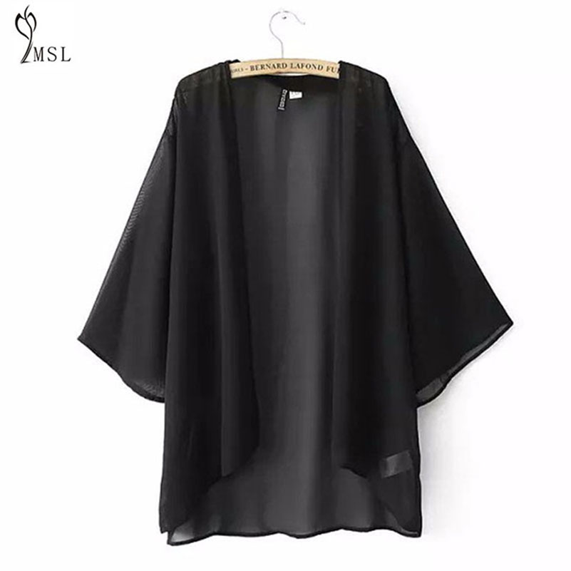 Kimono Cardigan Summer School Business Cool Blouse Long Shirts 2017 Women Chiffon Transparent Boho Female Chiffon Top Camisa 40/