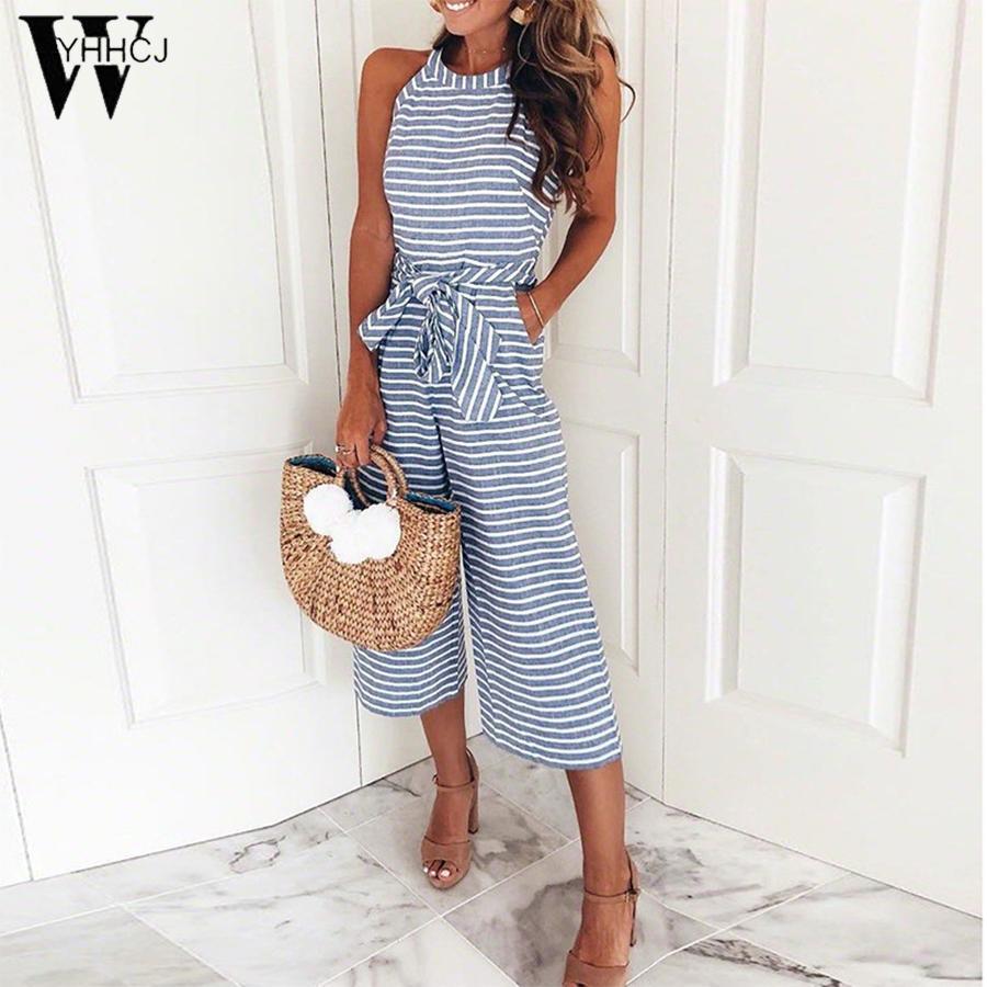 WYHHCJ 2018 Women's Sleeveless Striped Jumpsuit Casual Loose Trousers Fashionable Leotard Catsuit Combinaison Wide Leg Pants