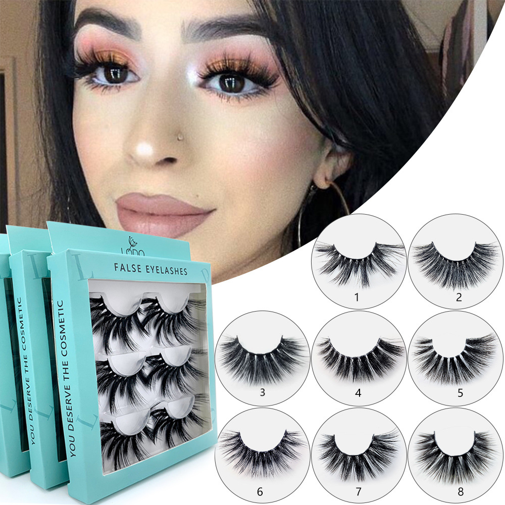 2019 New 3 Pairs 25mm Long 3D Mink Lashes Last Eyelashes Big Dramatic Volumn Strip Individual False Eyelash