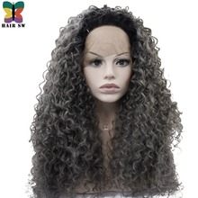 HAIR SW Long Kinky Curly Synthetic Lace Front Wig 180% Heavy Density Grey With Dark Roots Natural Heat Resistant For Black Women