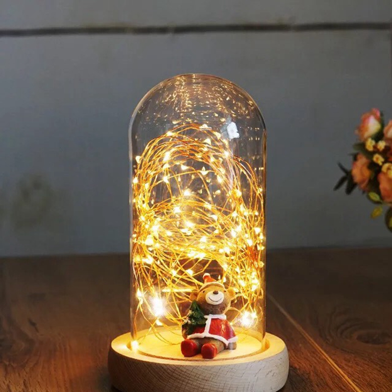Glass Display Cloche Domes Table Lamp LED Night Lights for Christmas Wedding Decoration, USB Fairy Copper Wire LED String Lights стоимость