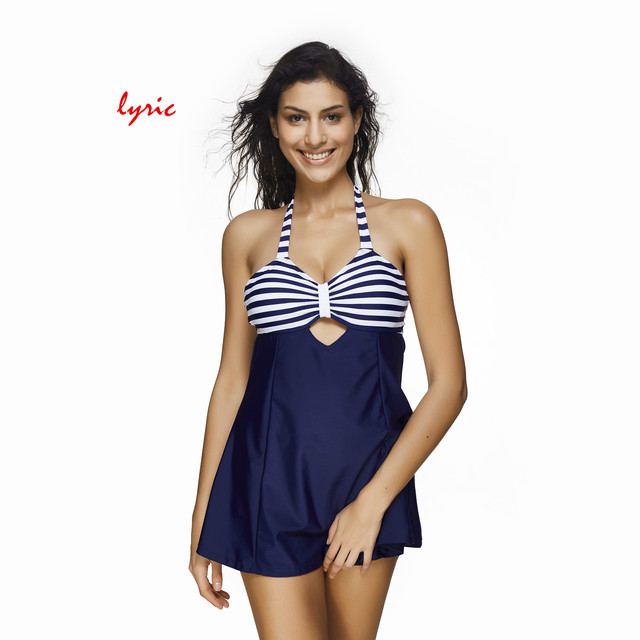 1f4ba8abe66 lyric Skirt Bikini One piece Swimsuit For Women Swimming Suit Plus Size  Swimwear Striped Bathing Suit Cover Ups Beach Costume