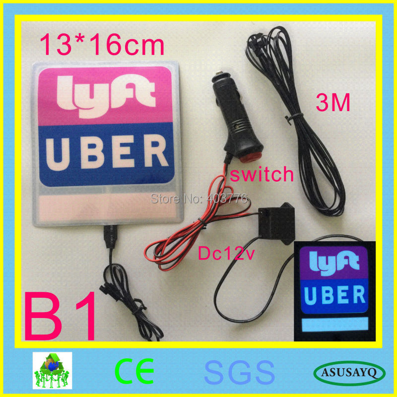 NEW Uber Lyft el flashing car sticker glow car sticker on can window with DC12V Car charger inverter free shipping NEW UBER lyft
