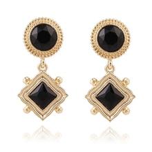 E0148 Fashion Jewelry Gold Color Geometry Drop Earrings Black White Crystal Rhinestone Dangle Earrings Fashion Wedding Jewelry