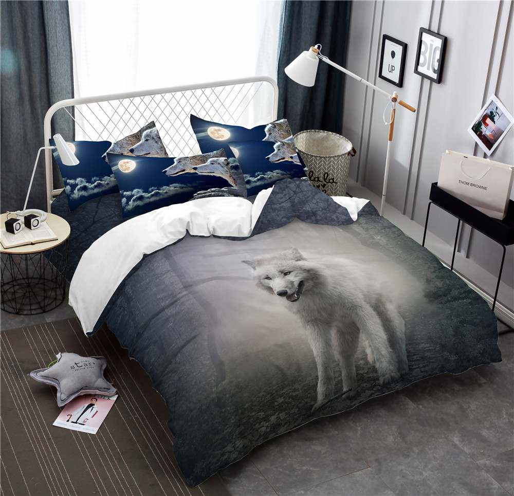 Luxury Bedding Set Galaxy White Wolf Bed Decoration US Twin Full Queen King Moon Light Shadow Pillowcases