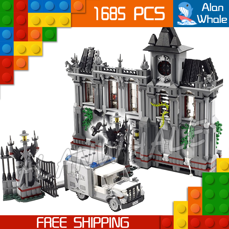 1685pcs Super Heroes Arkham Asylum Breakout Set 7124 DIY Model Building Blocks Toys Bricks Movie Comics Compatible With lego двухкамерный холодильник atlant хм 4013 022