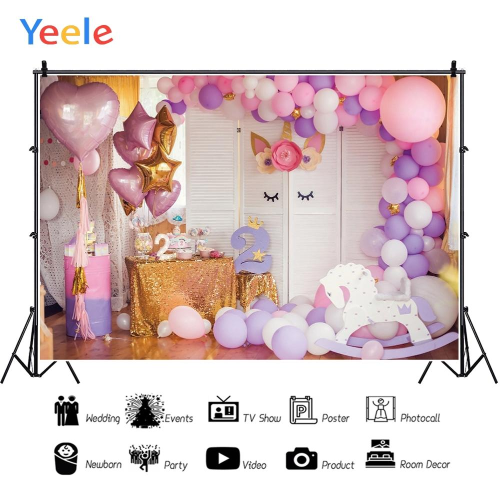 Yeele Unicorn Balloons 2 Year Birthday Party Scene Photography Backdrops Customized Photographic Backgrounds For Photos Studio