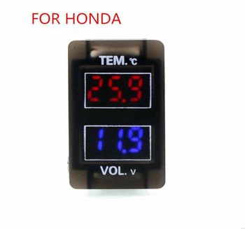 Car Interface 12V Digital LCD Voltage Meter Battery Monitor and Car Thermometer Use For Honda,Civic,Spirior,CRV,Fit Jazz,City image