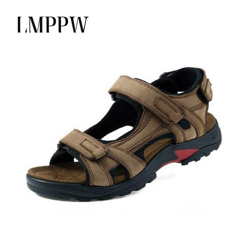 2018 Summer Genuine Leather Mens Sandals,fashion Breathable Non-slip Men Beach Shoes, Luxury Brand Mens Outdoor Casual Shoes