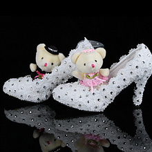 white lace with crystals diamonds Bridesmaid shoes high heels Bridal Dress Shoes party shoes nice wedding shoes