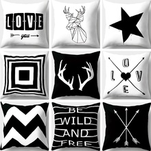 Geometric Pillow Covers Black and White Square Pillow Case Decorative Pillows Sofa Home Decor 45x45cm trendy black and white stripe v shape square sofa pillow case