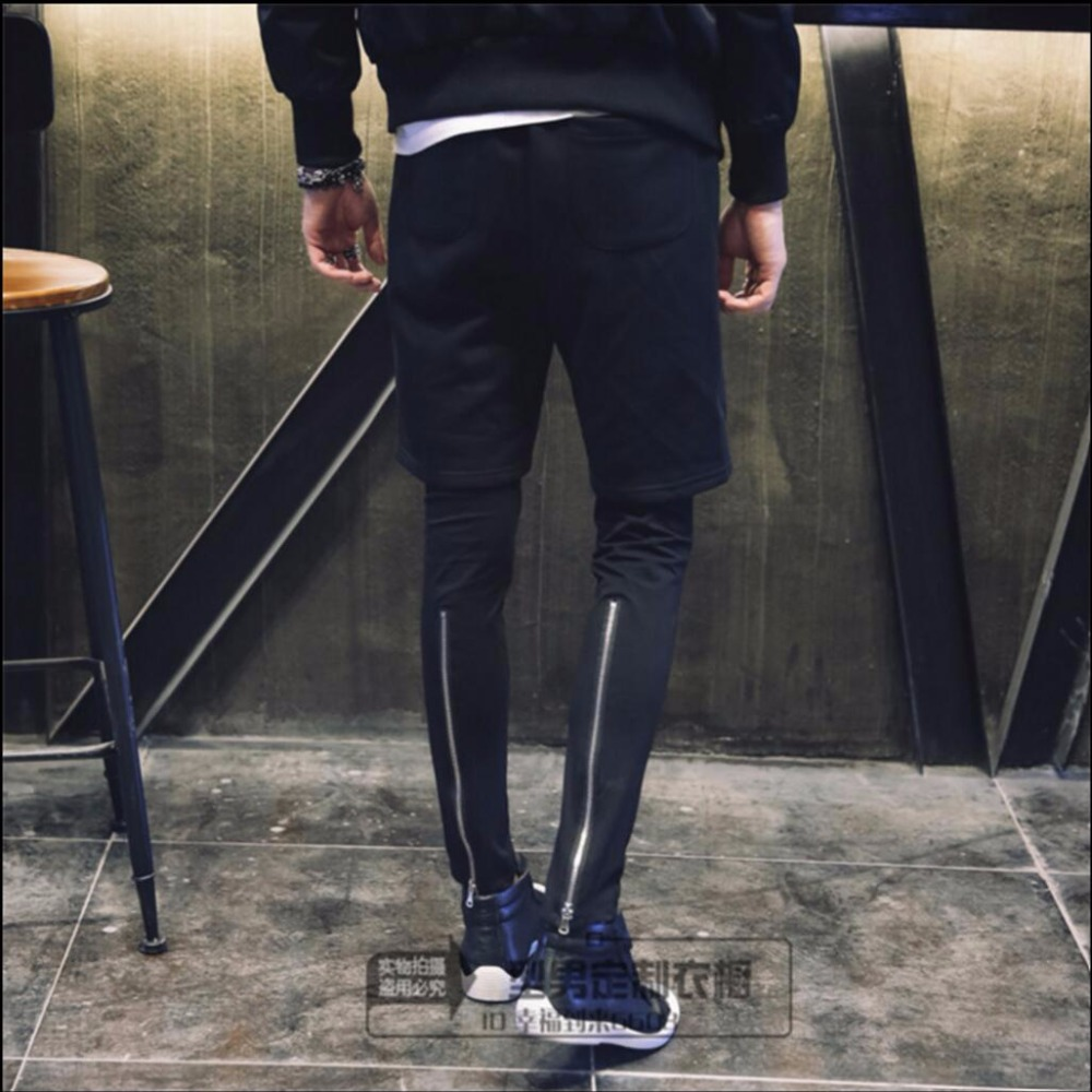 27-44 New Fake Two Sweatpants Autumn And Winter Personality Casual Trousers Feet Pants Harem Pants Fake Two Piece Pants Costumes