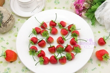 Artificial strawberry plastic mini fruit model kitchen cabinet at home decoration photography props child