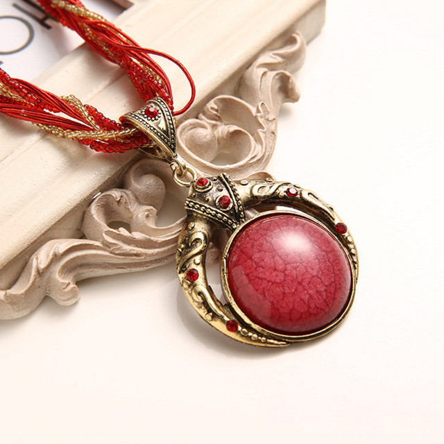 F&U Vintage Necklace Jewelry Fashion Popular Retro Bohemia Style Multilayer Beads Chain Crystal Grain Pendant Necklace 2