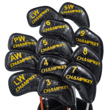 NEW Champkey 12 Pcs/set Professional Golf Club Iron Head Cover Black Color Snake PU Leather Protective Headcovers