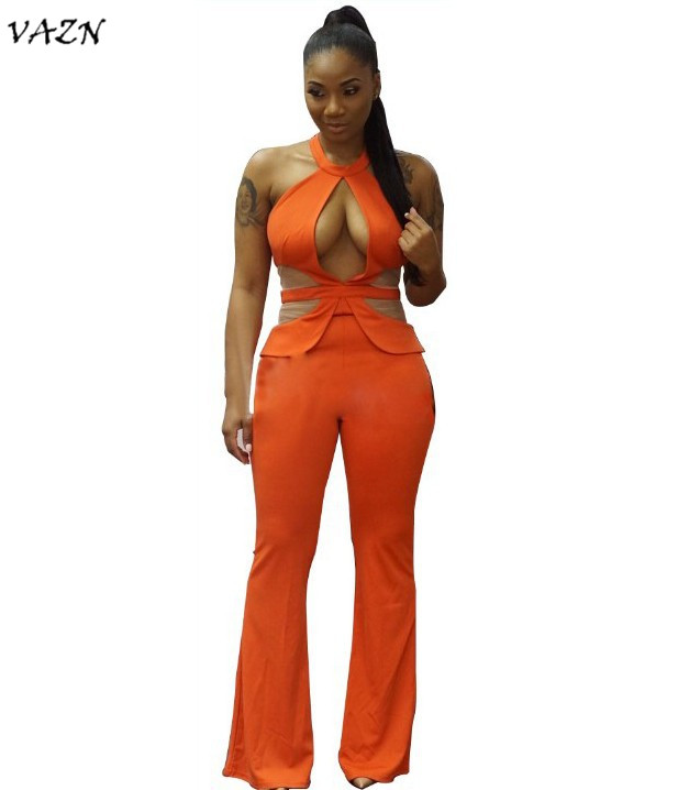 VAZN Hot Fashion Night Club Style <font><b>2018</b></font> <font><b>Sexy</b></font> <font><b>Jumpsuit</b></font> Solid Halter Off Shoulder Hollow Out Women Bodycon <font><b>Sexy</b></font> Romper G5012 image