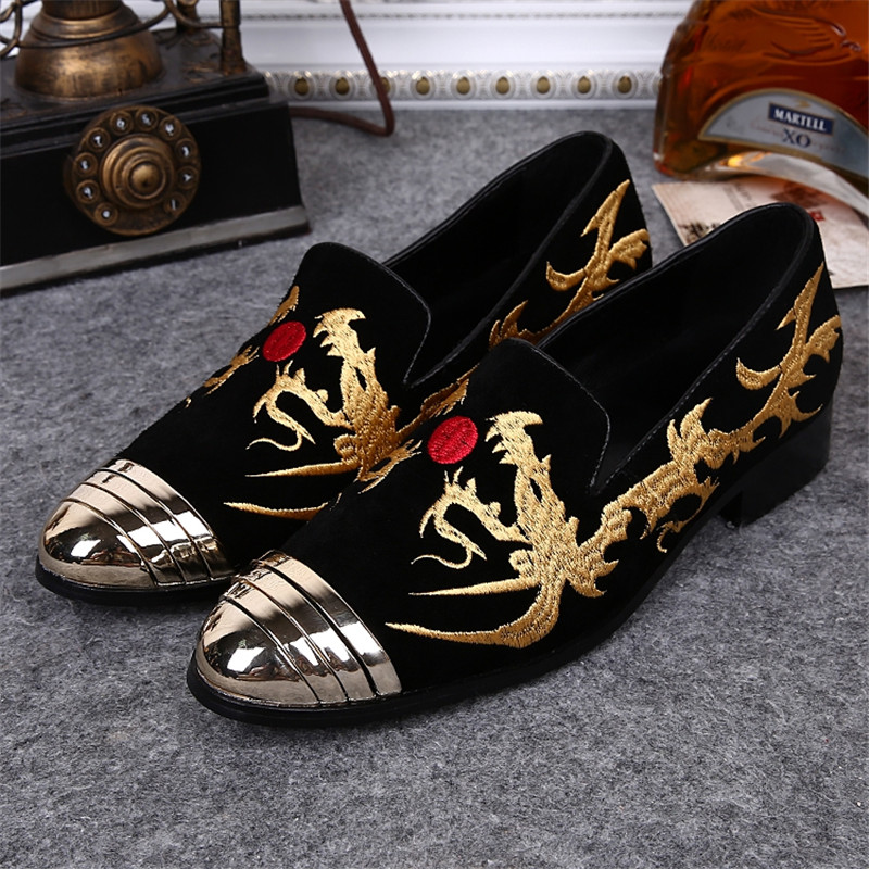 Black Color Gold Embroidery Pattern Men Loafers Metal Pointed Toe Wedding Party Banquet Loafer Men Dress Shoes Slip on Men Flats handmade red suede men shoes with gold rhinestone and gold toe metal party and banquet men dress loafers male s flats