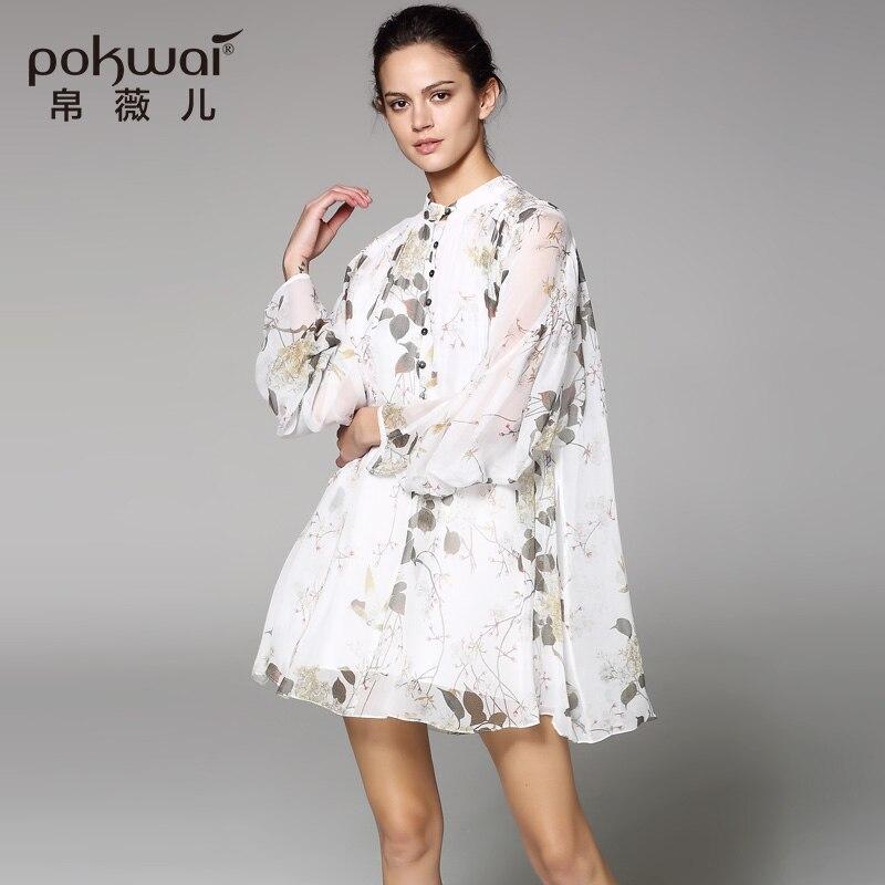 POKWAI Long Casual Silk Shirts Women Fashion High Quality 2017 Luxury Quality Batwing Sleeve Blouse Stand