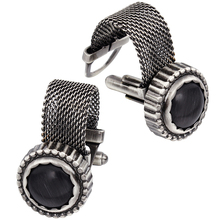 HAWSON Mens Cufflinks with Chain - Stone and Anti-Silver Tone Shirt Accessories - Party Gifts for Young Men