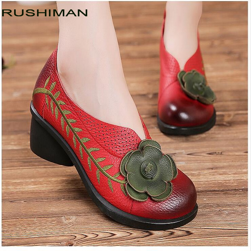 RUSHIMAN Genuine Leather Autumn Pregnant Women Shoes Female Moccasins Women Casual Shoes Flats Slip on Shoes