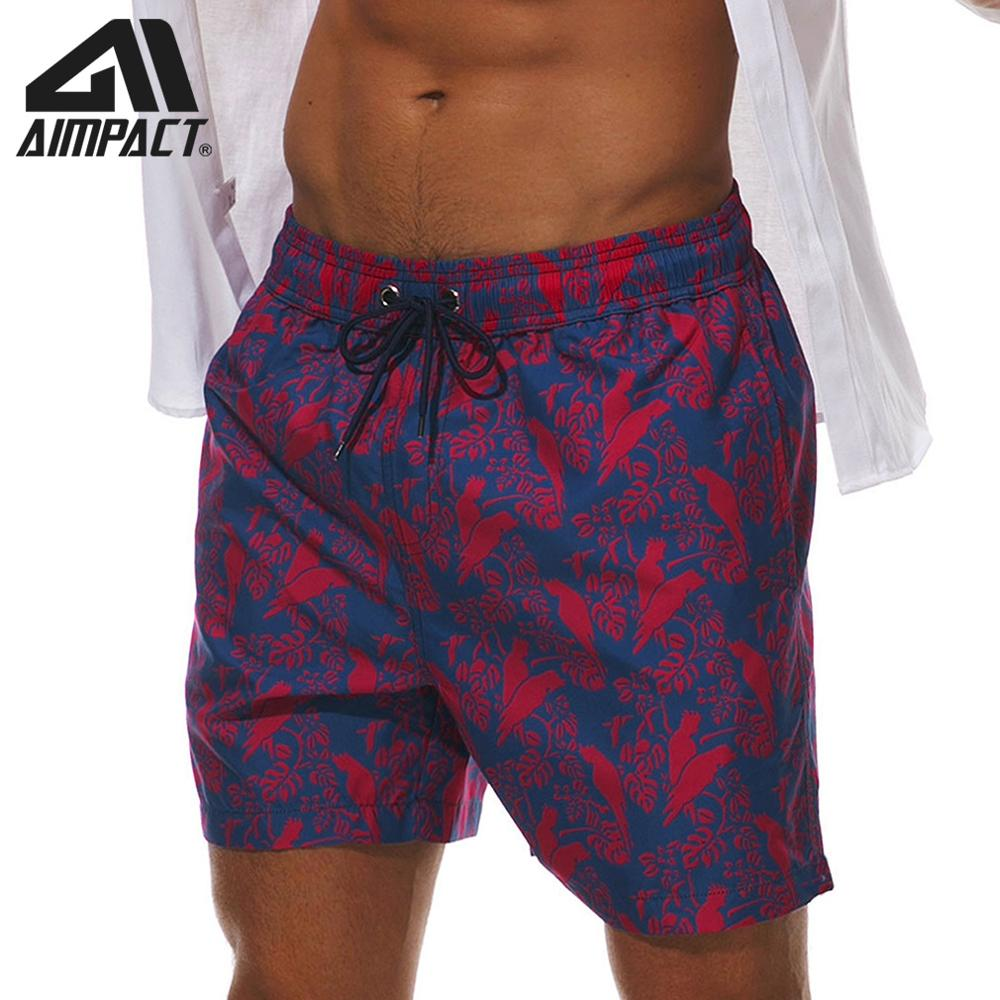 AIMPACT Surf Men's Swimming Trunks Beach   Board     Shorts   Quick Dry Parrot Print Volley Swimwear Bathing Suit with Pockets AM2206