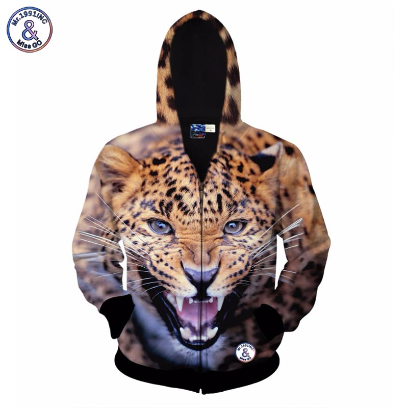 2017 Mr.1991INC Autumn winter fashion zipper jacket for men/women 3d hoodies hoody print fierce tiger hooded sweatshirt tops