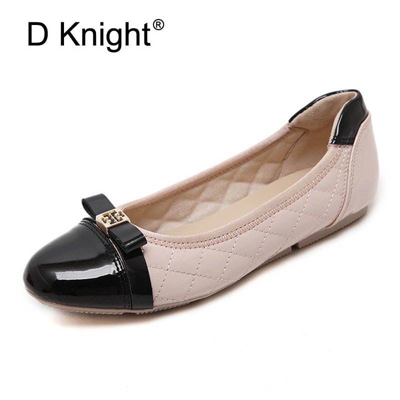 New Ladies Casual Slip-on Ballerinas Flats Fashion Patchwork Bow Round Toe Women Flats Shoes Woman Women's Ballet Flats Size 40 2017 new fashion women summer flats pointed toe pink ladies slip on sandals ballet flats retro shoes leather high quality