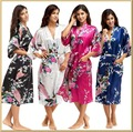 Robes Dressing Gown Women's Print Half Sleeve Satin Polyester Sleep Lounge Robes Satin Gown Pajamas
