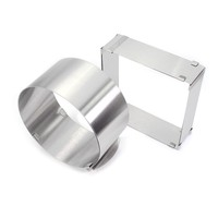 Stainless Steel Adjustable Cake Mousse Ring Set Of 2 Round Square Cake Mould