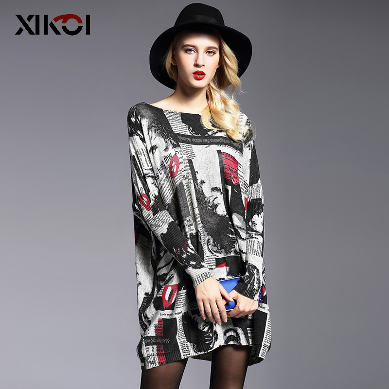 XIKOI Women Oversized Sweater Dress Autumn Pullovers Batwing Sleeve Patchwork Print Slash Neck Pull Femme Knitted Sweaters