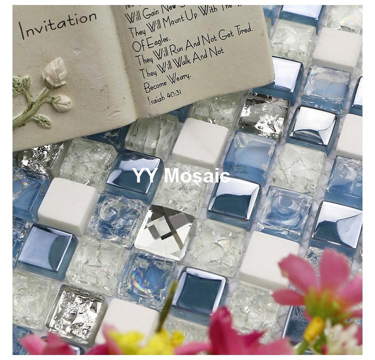 shinny mittelmeer blauen glas gemischten weien stein fliesen mosaik fr bad dusche fliesen kamin mosaik fliesen wandfliesen - Mosaikfliesen Wei