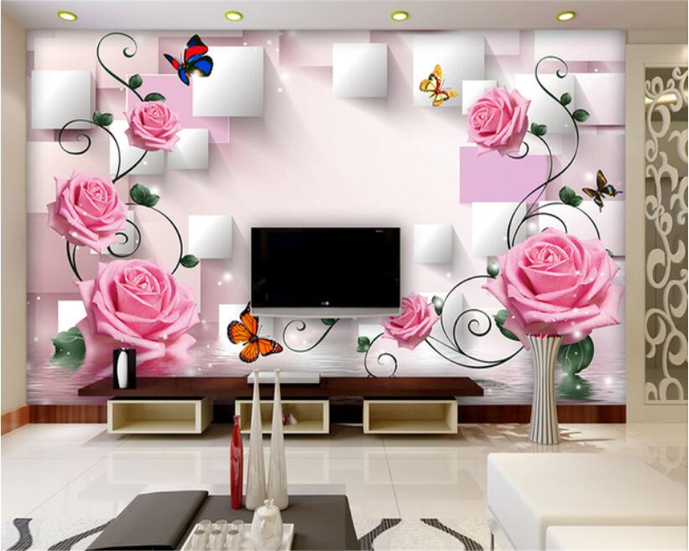 US $8.25 45% OFF|beibehang 3d wallpaper Home Decoration Studio Wallpaper  Rose Butterfly Flower Vine TV Background Wall papel de parede wall paper-in  ...