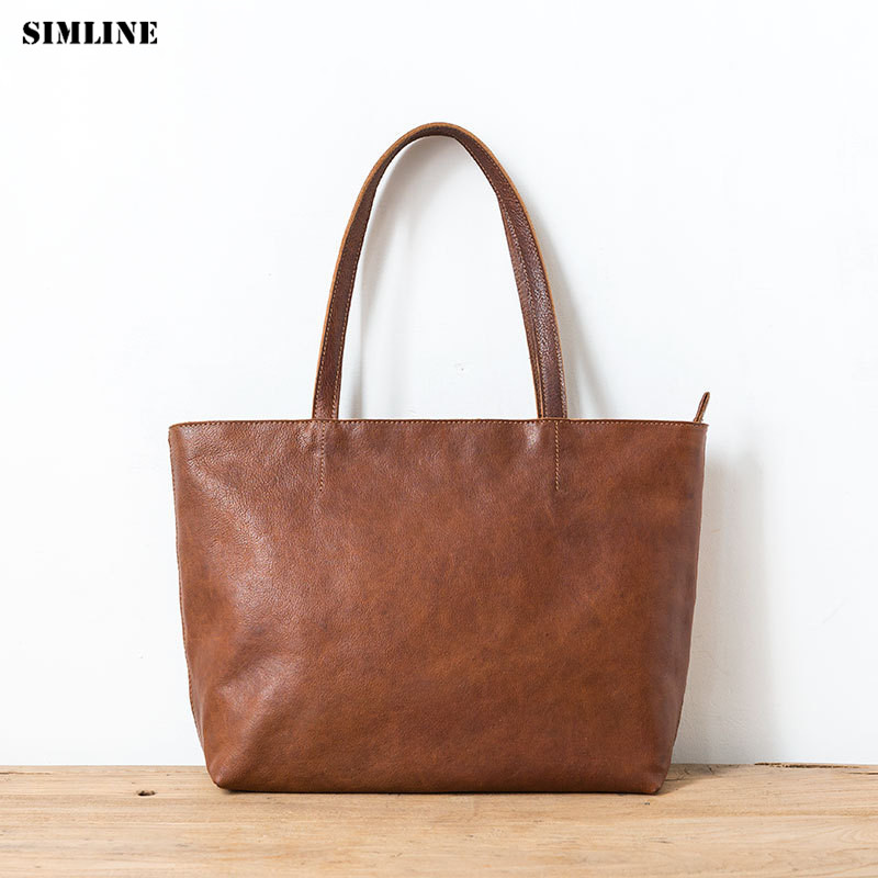 Vintage Genuine Leather Tote Handbags Women Female Handbag Large Capacity Shoulder Bag Shopping Bags Casual Totes For Ladies women handbags tote bags female genuine leather shoulder bags large capacity office crossbody bag shopping casual handbag sac