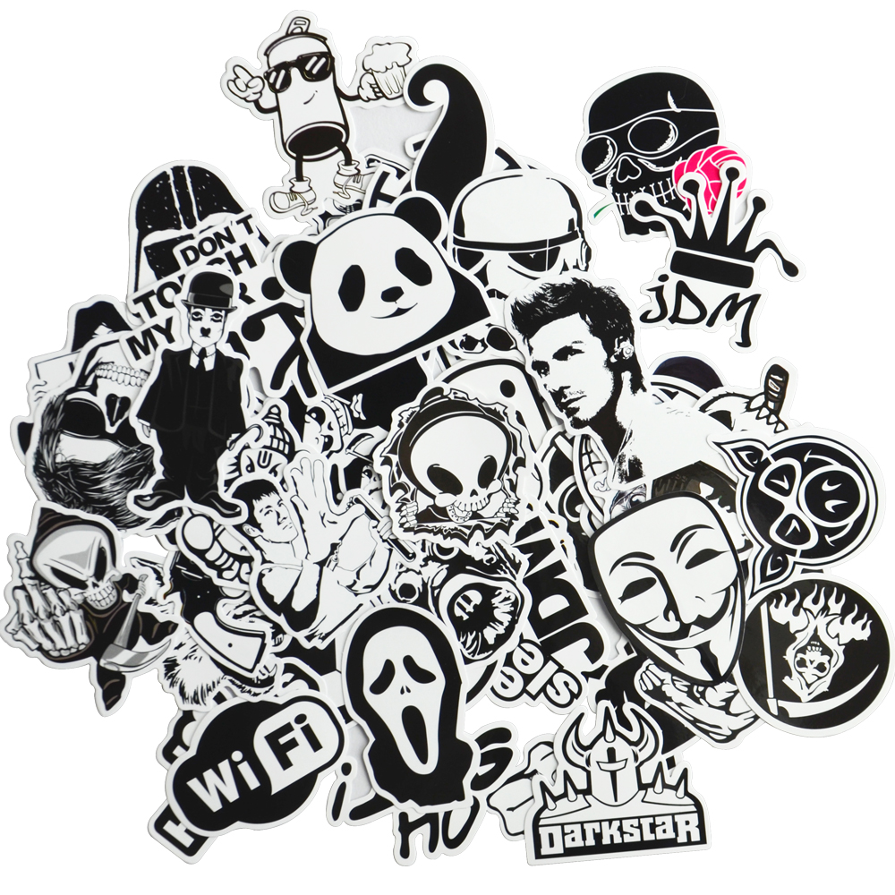 Cool sticker design for bike - Online Shop 50 Black White Cool Funny Car Stickers Vinyl Decal Car Styling Bicycle Travel Luggage Home Laptop Sticker Jdm Car Accessories Aliexpress