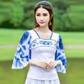 Camisa bonito de T Mulheres 2016 Moda Gradient Cor Praça Neck Borboleta Luva Casual Magro Top Ruffles Novo Para O Verão